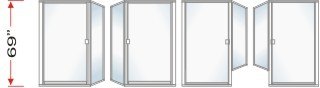 P1500 & P90 Series Shower Doors 66-5/8 inch high With Return Panel Over All Height 69 inch high