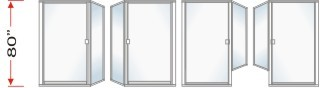P1500 & P90 Series Shower Doors 77-5/8 inch high With Return Panel Over All Height 80 inch high