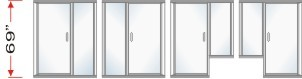 P2000 & P180 Series Shower Doors With In-Line Panel Overall Height 69 inch high