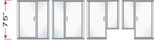 P2000 & P180 Series Shower Doors With In-Line Panel Overall Height 75 inch high