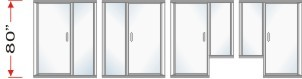 P2000 & P180 Series Shower Doors With In-Line Panel Overall Height 80 inch high