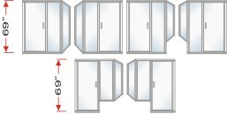 P2000 & P90I Series Shower Doors With In-Line Panel and Return Panel Over All Height 69 inch high