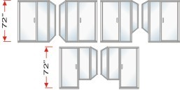 P2000 & P90I Series Shower Doors With In-Line Panel and Return Panel Over All Height 72 inch high
