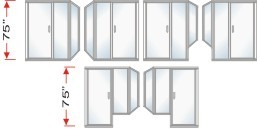 P2000 & P90I Series Shower Doors With In-Line Panel and Return Panel Over All Height 75 inch high