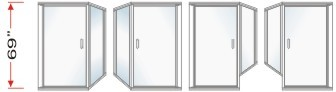 P2000 & P90 Series Shower Doors With 90 degree Return Panel Overall Height 69 inch high
