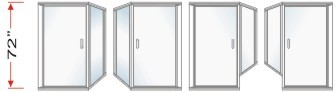 P2000 & P90 Series Shower Doors With 90 degree Return Panel Overall Height 72 inch high