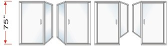 P2000 & P90 Series Shower Doors With 90 degree Return Panel Overall Height 75 inch high