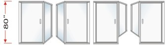 P2000 & P90 Series Shower Doors With 90 degree Return Panel Overall Height 80 inch high