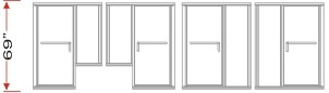P2500 & P180 KD Series Shower Doors With 180 degrees Return Panels Overall Height 69 inch high
