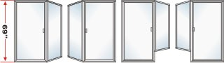 P3000 & P90 Series Shower Doors 67-1/2 inch high With Return Panel Over All Height 69 inch high