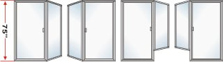 P3000 & P90 Series Shower Doors 73-1/2 inch high With Return Panel Over All Height 75 inch high