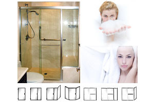 SFL Series Custom Heavy Duty Semi-Frameless Hinged and Sliding Shower Doors