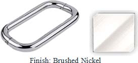 Brushed Nickel 8 inch Back-To-Back Tubular 3/4 inch Diameter Pull Handle with Optional Metal Washers - BN608PBN