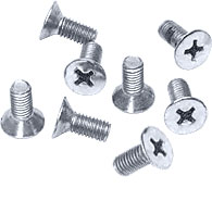 Brushed Satin Chrome Phillips 6 mm x 12 mm Cover Plate Flat Head Screws - CRL P612BSC Pack of 8