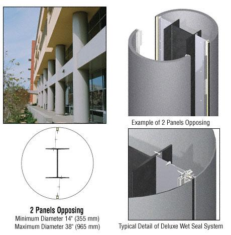 CRL Custom Mica Platinum Deluxe Series Round Column Covers Two Panels Opposing - DCR20CMP