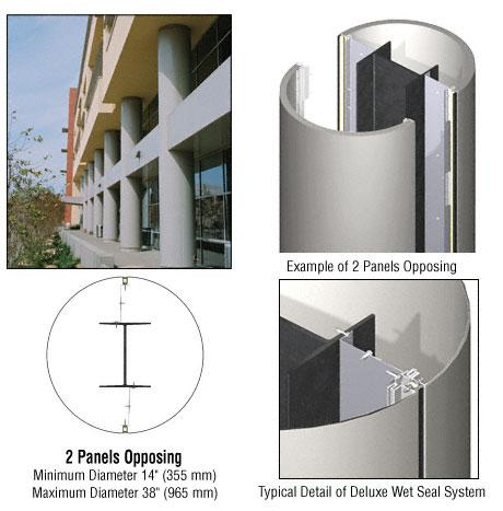 CRL Custom Non-Directional Stainless Deluxe Series Round Column Covers Two Panels Opposing - DCR20CNDS