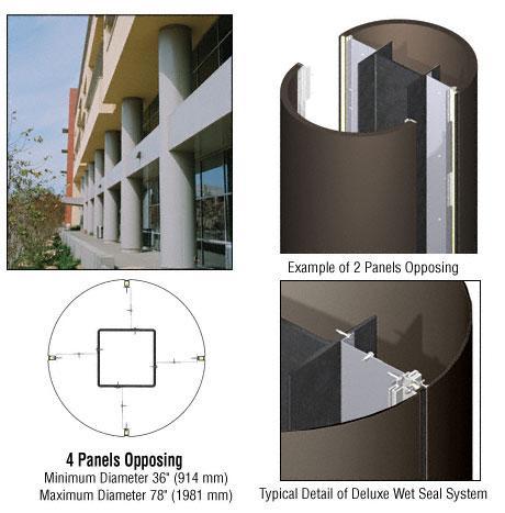 CRL Custom Oil Rubbed Bronze Deluxe Series Round Column Covers Four Panels Opposing - DCR40CORB