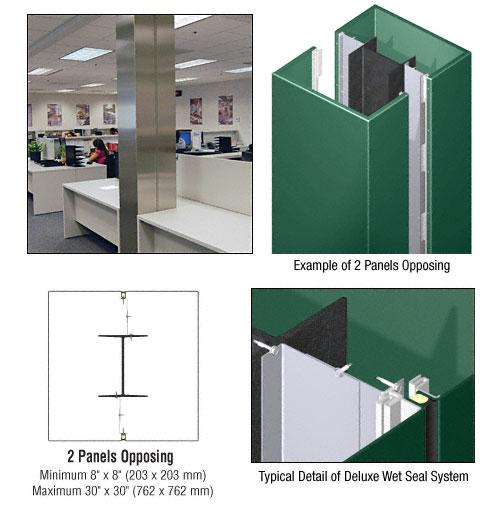 CRL Custom Color Kynar® Painted Deluxe Series Square Column Covers Two Panels Opposing - DCS20CKN