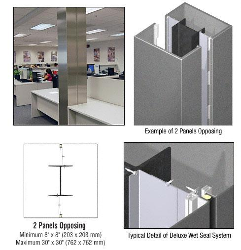 CRL Custom Mica Platinum Deluxe Series Square Column Covers Two Panels Opposing - DCS20CMP