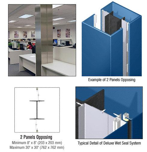 CRL Custom Color Powder Painted Deluxe Series Square Column Covers Two Panels Opposing - DCS20CPT