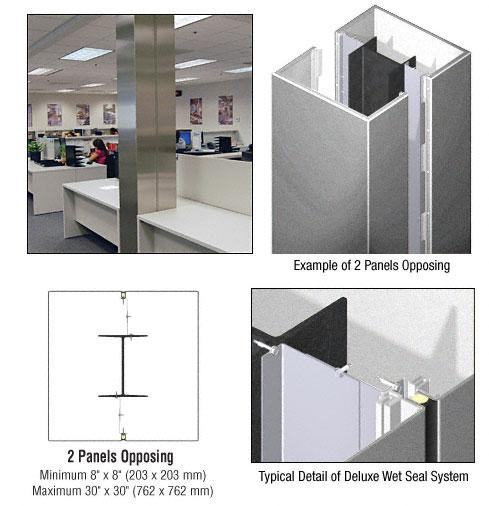 CRL Custom Silver Metallic Deluxe Series Square Column Covers Two Panels Opposing - DCS20CSM