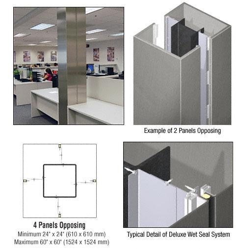 CRL Custom Brushed Stainless Deluxe Series Square Column Covers Four Panels Opposing - DCS40CBS
