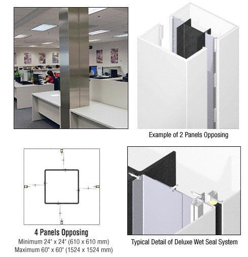 CRL Custom Bone White Deluxe Series Square Column Covers Four Panels Opposing - DCS40CBW
