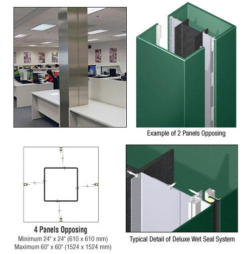 CRL Custom Color Kynar® Painted Deluxe Series Square Column Covers Four Panels Opposing - DCS40CKN