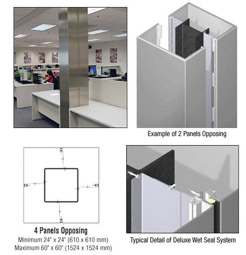 CRL Custom Non-Directional Stainless Deluxe Series Square Column Covers Four Panels Opposing - DCS40CNDS
