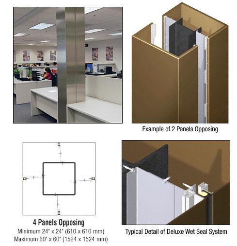 CRL Custom Polished Bronze Deluxe Series Square Column Covers Four Panels Opposing - DCS40CPBRZ