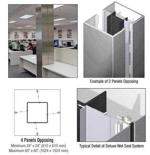 CRL Custom Silver Metallic Deluxe Series Square Column Covers Four Panels Opposing - DCS40CSM