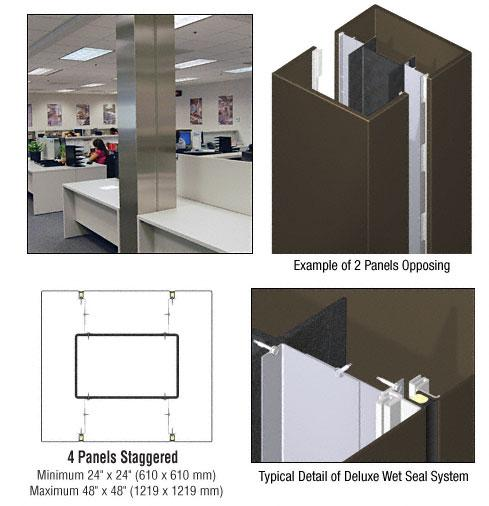 CRL Custom Oil Rubbed Bronze Deluxe Series Square Column Covers Four Panels Staggered - DCS45CORB