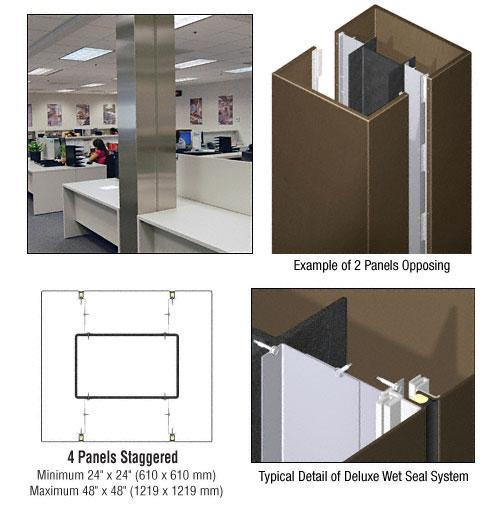 CRL Custom Brushed Bronze Deluxe Series Square Column Covers Four Panels Staggered - DCS45CBBRZ