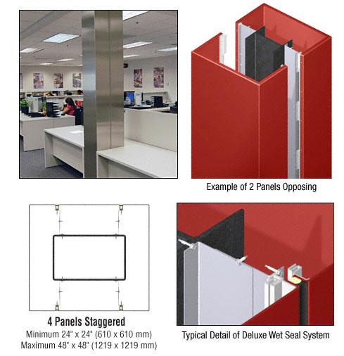 CRL Custom Color Newlar Painted Deluxe Series Square Column Covers Four Panels Staggered - DCS45CNL