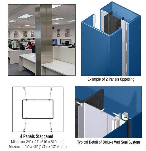 CRL Custom Color Powder Painted Deluxe Series Square Column Covers Four Panels Staggered - DCS45CPT