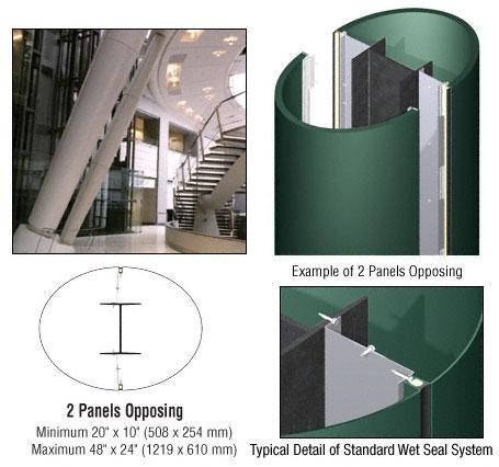CRL Custom Color Kynar® Painted Standard Series Elliptical Column Covers Two Panels Opposing - ECE20CKN