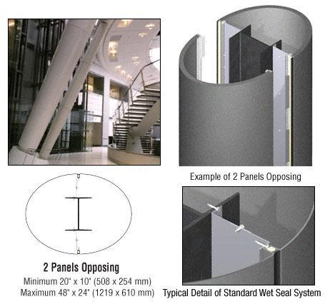 CRL Custom Mica Platinum Standard Series Elliptical Column Covers Two Panels Opposing - ECE20CMP