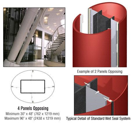 CRL Custom Color Newlar Painted Standard Series Elliptical Column Covers Four Panels Opposing - ECE40CNL