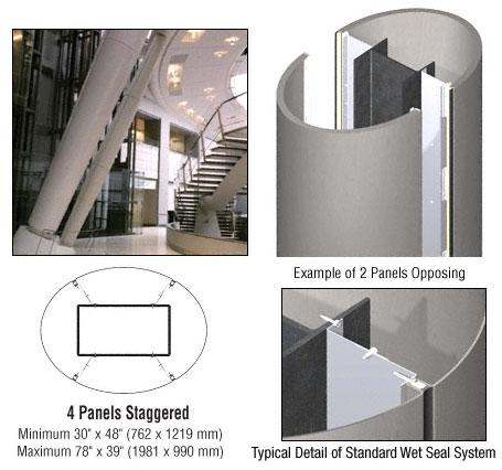 CRL Custom Brushed Stainless Standard Series Elliptical Column Covers Four Panels Staggered - ECE45CBS