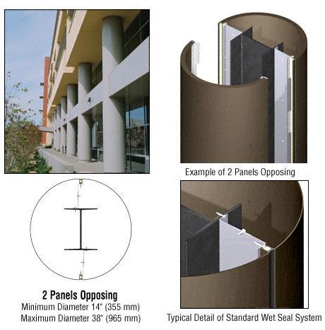 CRL Custom Brushed Bronze Standard Series Round Column Covers Two Panels Opposing - ECR20CBBRZ