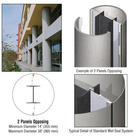 CRL Custom Brushed Stainless Standard Series Round Column Covers Two Panels Opposing - ECR20CBS
