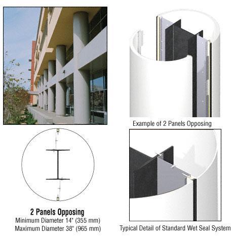 CRL Custom Bone White Standard Series Round Column Covers Two Panels Opposing - ECR20CBW