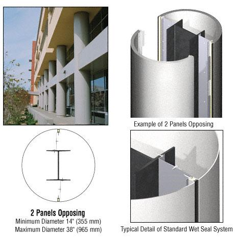 CRL Custom Silver Metallic Standard Series Round Column Covers Two Panels Opposing - ECR20CSM