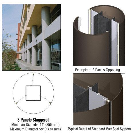 CRL Custom Oil Rubbed Bronze Standard Series Round Column Covers Three Panels Staggered - ECR30CORB