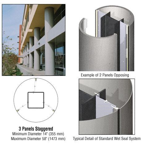 CRL Custom Brushed Stainless Standard Series Round Column Covers Three Panels Staggered - ECR30CBS
