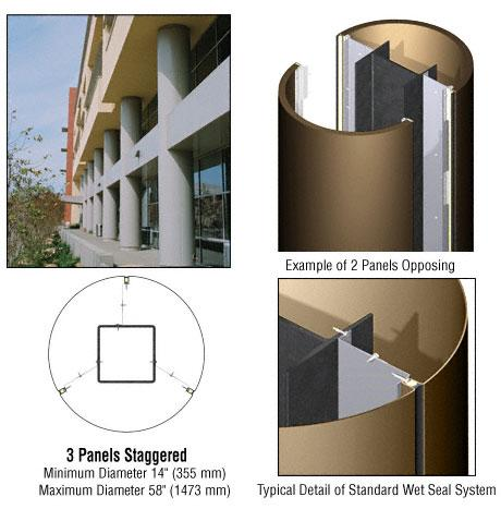 CRL Custom Polished Bronze Standard Series Round Column Covers Three Panels Staggered - ECR30CPBRZ