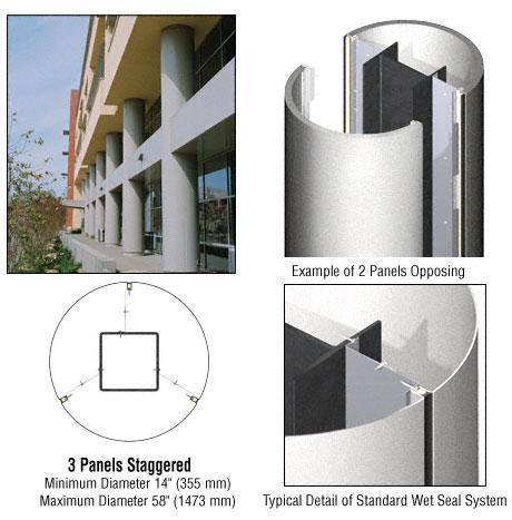 CRL Custom Silver Metallic Standard Series Round Column Covers Three Panels Staggered - ECR30CSM