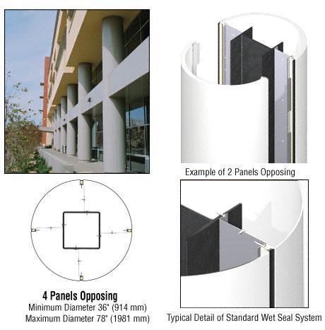 CRL Custom Bone White Standard Series Round Column Covers Four Panels Opposing - ECR40CBW