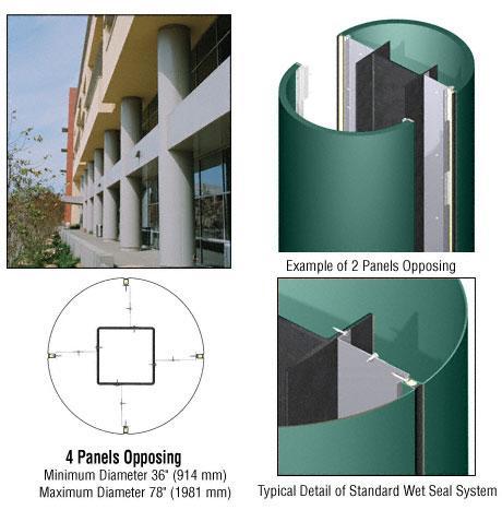 CRL Custom Color Kynar® Painted Standard Series Round Column Covers Four Panels Opposing - ECR40CKN
