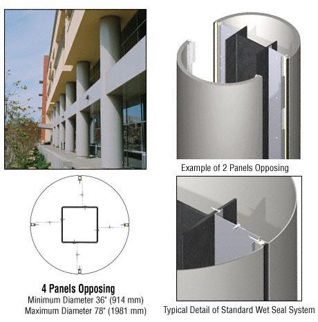 CRL Custom Non-Directional Stainless Standard Series Round Column Covers Four Panels Opposing - ECR40CNDS